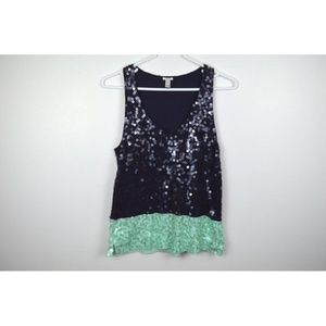 J Crew Small Shirt Sequin Tank Top Blouse